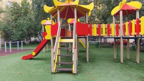 Empty playground in city park. stock footage
