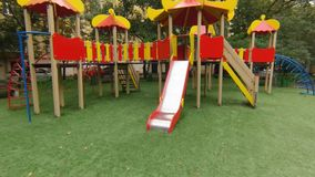Empty playground in city park. stock video