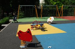 Empty playground in a park Stock Images
