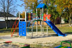 Empty playground in the park Stock Photo