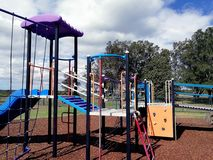 Empty outdoor playground. An empty playground in Pelican, NSW Australia Royalty Free Stock Image