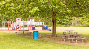 Empty playground and picnic table Royalty Free Stock Images