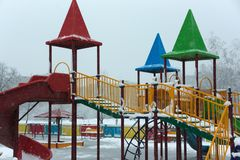 Empty playground snowfall Stock Photo