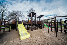 Empty playground. Empty wooden playground. Photo taken in Poland Stock Photography