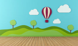 Empty Playroom. Empty child room with clouds  hot-air and balloon on blue wall - rendering Stock Photography