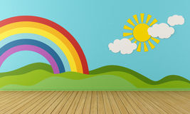 Empty Playroom With Rainbow And Green Hills Royalty Free Stock Image