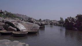 Empty pleasure boats on the pier stock video