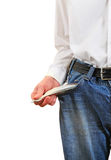 Empty Pocket closeup. Man in Jeans shows the Empty Pocket Closeup on the White Background Stock Photos