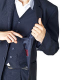 Empty pocket of a jacket. The businessman looks in an empty pocket of a jacket Royalty Free Stock Photos