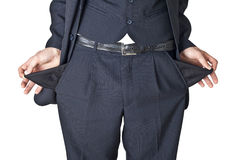 Empty pockets. The businessman shows that in pockets is empty Royalty Free Stock Photography