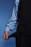 Empty pockets. Businessman with empty black pockets Stock Photography