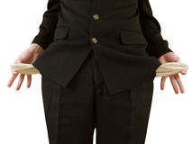 Empty pockets. Man in black suit, holding his pockets inside-out royalty free stock image