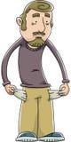 Empty Pockets. A broke cartoon man pulls his empty pockets inside out Stock Photo