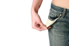 Empty pockets. Financial problems. Stock Photography