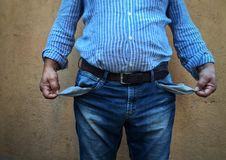 Empty pockets mature man Stock Image