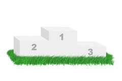 Empty podium among grass. Stock Image