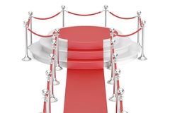 Empty podium with red carpet and barrier rope, 3D rendering Royalty Free Stock Images