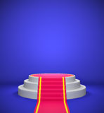 Empty podium with red carpet Royalty Free Stock Photos