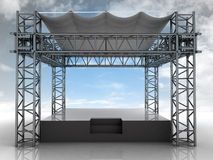 Empty podium with roof and blue sky front view Royalty Free Stock Photo