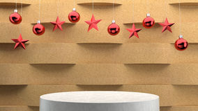 Empty podium on wave pattern background with hanging  balls and stars ornaments. For new year or Christmas theme. Royalty Free Stock Photos