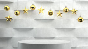 Empty podium on wave pattern background with hanging  balls and stars ornaments. Stock Photos