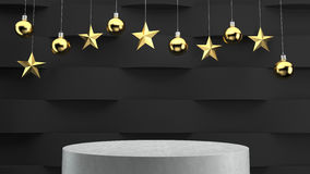 Empty podium on wave pattern background with hanging  balls and stars ornaments. Royalty Free Stock Photos