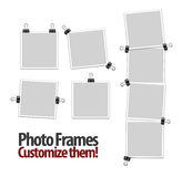 Empty polaroid photo frames with clips Royalty Free Stock Images