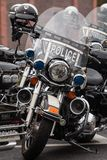 Empty Police Motorcycles Lined Up For Charity Biker Ride Stock Photo