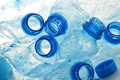 Empty polycarbonate plastic bottles of mineral Stock Photos