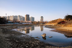 Empty pond area in Olympic park Seoul Stock Image