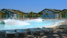 Empty pool on a vacation residence sunny day stock footage