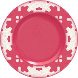 Empty porcelain clay plate with decorative frame Royalty Free Stock Photos