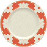 Empty porcelain clay plate with decorative frame Royalty Free Stock Image