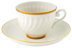 Empty porcelain cup and saucer Stock Photos