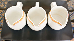 Empty porcelain jugs Royalty Free Stock Photos