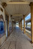 Empty Portuguese Train Station in a Sunny Day royalty free stock photography