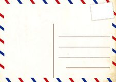 Empty postcard. Old retro empty postcard with stamp Royalty Free Illustration