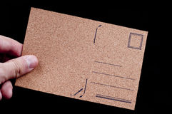 Empty Postcard by cork maerial. Empty Postcard made by cork material Royalty Free Stock Photography