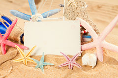 Empty postcard with starfish Stock Photos