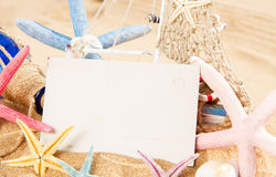 Empty postcard with starfish Royalty Free Stock Image