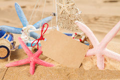 Empty postcard with starfish Royalty Free Stock Images