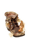 Empty pot shoes with squirrel. Empty decorative flowerpots as an old boot in which live squirrel isolated on a white background stock images
