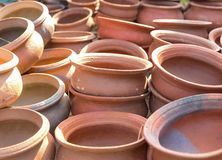 Empty pots at market stand. Stock Photography