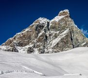 Empty powder filled ski slope overlooking the iconic Matterhorn mountain. Captured on Italian side at Cervinia Stock Image