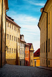 Empty Prague Street in Early Morning Stock Photography