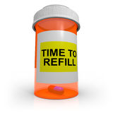 Empty Prescription Bottle - Time to Refill Stock Photos