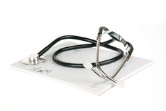 Empty prescription with stethoscope isolated Stock Image
