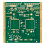 Empty printed circuit board (PCB). The empty green printed circuit board with gilded contacts, isolated on white Stock Photography
