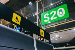 Empty Priority seats, chairs in the departure hall gate at international airport reserved for disability stock photography