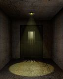 Empty prison cell. Illustration of an empty jail cell with a lamp hanging on the ceiling Stock Photos